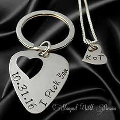 Guitar pick Keychain and necklace set hand stamped - I pick you with date - Couples Anniversary Jewelry Set - Gift for him - Gift for Her - Christmas Gift - Stainless steel handmade gifts -- Check out the image by visiting the link.