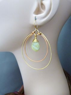 Handmade Premium 24K Gold Plated and Copper Hoop by Gretchen Hind Designs.