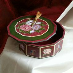MDF box with decorative painting and wood patina