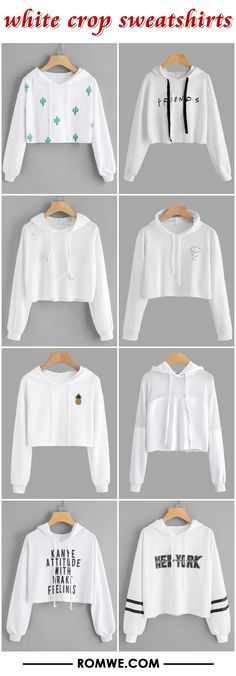 white crop sweatshirts 2017 - romwe.com