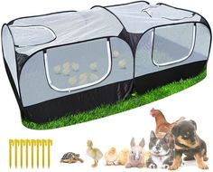 Pop-up tent, easy to set up, and folds easily for storage within few seconds [Indoor Use] For indoor use with a bottom, you can put some straw or hay in the chicken coop to create a comfortable environment [Detachable Bottom Outdoor Use] It provides a secure place for poultry to enjoy grass, bugs, natural sunlight, and fresh air