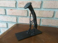 Mid Century Modern Art - Railroad Spike Golfer Sculpture Folk Art C.SMITH 1973