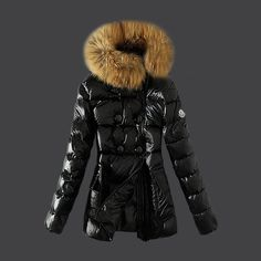 2013 New! France Moncler Down Jackets Womens Zip Fur Collar Black Outlet