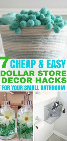 Easy dollar store hacks for your bathroom decor. Decorate your small bathroom on a budget with these Dollar Tree decor ideas. diy bathroom decor 7 Easy DIY Dollar Store Decor Hacks for Your Small Bathroom - Balancing Bucks Dollar Store Hacks, Dollar Stores, Diy Home Decor On A Budget, Easy Home Decor, Decorating On A Budget, Cheap Home Decor, Home Decor Hacks, Decorating Games, Diy
