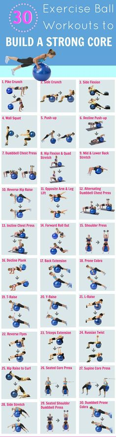 30 exercise ball workouts: A fitness ball is a must have for every home gym workout as they make exercises such as the crunch, butt bridge, push up, prone cobra more fun and challenging. A list of 30 stability ball exercises to get you started.  Invite me to your fitness boards ! thanks ! - Fitness is life, fitness is BAE! <3 Tap the pin now to discover 3D Print Fitness Leggings from super hero leggings, gym leggings, fitness, leggings, and more that will make you scream YASS!!!