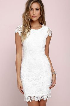We admire any girl who can put together a great outfit but honestly the Hidden Talent Backless Ivory Lace Dress makes it easy! This beautiful bodycon dress has sheer cap sleeves and a backless design (with top button). Hidden back zipper/hook clasp. Pencil Dress With Sleeves, Dresses With Sleeves, Cap Sleeves, Short Sleeves, Trendy Dresses, Nice Dresses, Casual Dresses, White Bridal Shower Dress, Dress Outfits