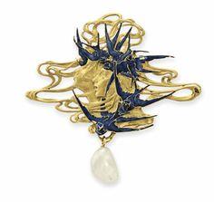 Marie Poutine's Jewels & Royals: Art Nouveau Brooches and Pendants An art nouveau gold, enamel and pearl brooch by René Lalique, circa 1900.