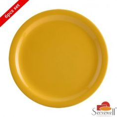 Servewell 6 Pc Round Side Plate Set - Yellow