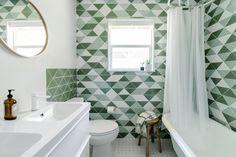 Before & After: Green Tiled Bathroom Conversion: Remodelista