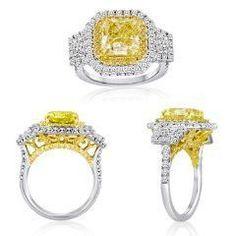 5.25 Ct Fancy Yellow Three Stone Diamond Ring