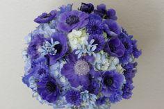 blue bouquet with wedding flowers like anemone,  tweedia, and scabiosa, Dallas wedding flowers