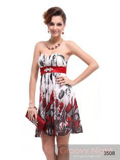 ウエストのレッドで引き締まって見える可愛いショートドレス♪ - ロングドレス・パーティードレスはGN|演奏会や結婚式に大活躍!