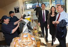 Ed Miliband, Rachel Reeves and Ed Balls buying some sausage rolls