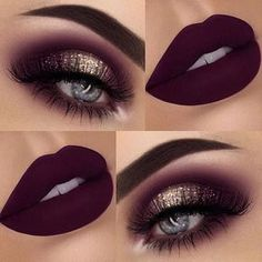 Maroon eye shadows and lipsticks. Check out the palette used