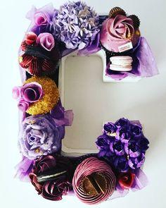 Monogram cupcakes by Cupcakes & Studmuffins Monogram Cupcakes, Wreaths, Halloween, Home Decor, Decoration Home, Door Wreaths, Room Decor, Deco Mesh Wreaths, Home Interior Design