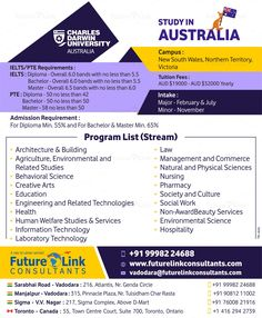 Create #opportunities for the #future with #CharlesDarwinUniversity, #Australia! The #University is offering some awesome courses! Check them out now and #apply today. To know more, visit www.futurelinkconsultants.com or Call +91 9998224688.  #FutureLinkConsultants #StudyAbroad Colleges In Australia, Toronto, Darwin Australia, Visa, Charles Darwin, Ielts, Study Abroad, How To Apply