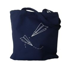 Canvas Tote Bag  Paper Planes Print on Navy by theboldbanana on Etsy, $10.00