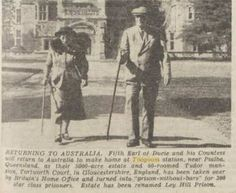 1949 Fifth Earl of Ducie and his Countess return to Australia to live at Toogoom Station.