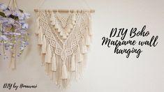 Macrame Wall Hanging Diy, Macrame Design, Macrame Tutorial, Boho Diy, Macrame Patterns, Cotton Rope, Tassels, Tutorials, Youtube