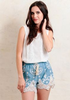 Taste Of Greece Embroidered Chambray Shorts