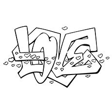 Heart Coloring Pages, Printable Adult Coloring Pages, Disney Coloring Pages, Coloring Pages To Print, Colouring Pages, Coloring Books, Free Coloring, Graffiti Alphabet, Graffiti Lettering