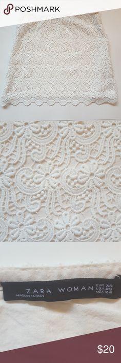 "zara lace mini skirt Waist: 13"" Length: 16"" Polyester lace, Cotton lining Smoke-free home  Save 10% on bundles Zara Skirts Mini"