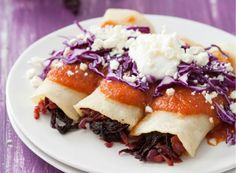 Hibiscus Flower Enchiladas with Jicama, Chipotle Chilies in Adobo, Purple Cabbage, & Cojita Crumbles // LoveAndOliveOil Mexican Food Recipes, Vegetarian Recipes, Healthy Recipes, Mexican Dishes, Mexican Meals, Spanish Recipes, Vegetarian Cooking, Healthy Meals, Crepes