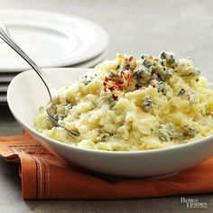 Upgrade your mashed potatoes this holiday season. Yukon gold potatoes blend with blue cheese and garlic in this five-ingredient side dish that is ready to serve in just 30 minutes./