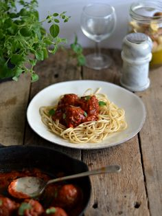 Lentil black bean meatballs with tomato sauce and marinated mushrooms (V) | Compassionate Cuisine.