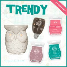 #Scentsy Gift Idea for that trendy, chic person! ;) *This is an example of the Combine & Save Scentsy Companion System. Buy any Full-size Warmer, Plug-in Warmer and three fragrances and save 10.00  http://www.samanthagoss.scentsy.us/