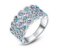Quality ROXI Luxury Women Ring Fashion Jewelry Sparkling White Gold Plated Blue Czech Stones Lady Female Rings Size with free worldwide shipping on AliExpress Mobile Trendy Jewelry, Women Jewelry, Fashion Rings, Fashion Jewelry, Crystal Fashion, Engagement Jewelry, Unique Rings, Plaque, White Gold Rings