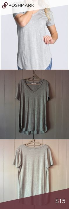 Relaxed Heather gray flowy v-neck tee Brand new. Did not come with tags. Relaxed fit. Super soft and comfy 😍 Tops Tees - Short Sleeve
