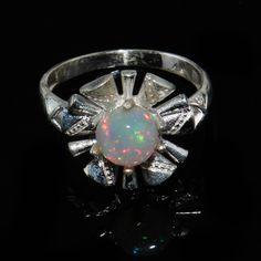 Natural Flower Opal Ring - Handmade Gemstone Ring - Opal Lover - Opal Birthstone Ring - Opal Silver Ring - Opal cabochon Ring