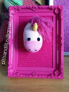 Handmaded amigurumi pink unicorn frame / Cuadro de unicornio rosa hecho a mano pitisandlilus@gmail.com