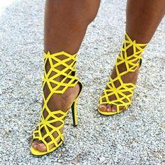 """Yellow Suede Diamond Cutout Heel Sandals -True to size -Heel height: 4.25"""" Shoes Heels"""