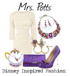 """Mrs. Potts - from Disney's Beauty and the Beast"" by elliekayba ❤ liked on Polyvore featuring STELLA McCARTNEY, Paris Hilton, Betsey Johnson, Fantasy Jewelry Box, disney, whitedress, BeautyandtheBeast and MrsPotts"