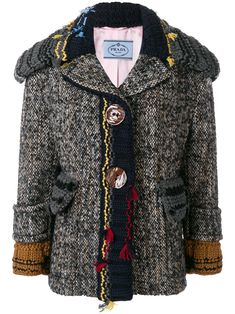 Prada embroidered knit trim jacket