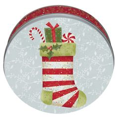 tin cookie cans | ... calico stocking decorative cookie tins tags cookie tins cake tins