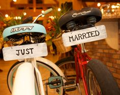 Della Terra Mountain Chateau Estes Park Colorado Bike Props with Just Married Signs Details by Joe and Robin Photography