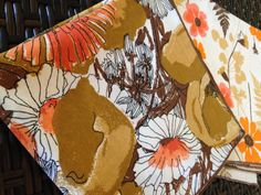 3 Vintage Vera Neumann Cotton Napkins With Fall Colors by AZCindy