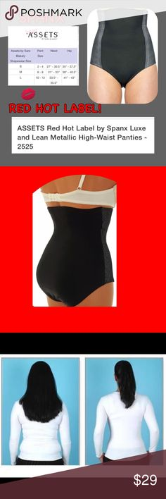 """Spanx High-Waist Tummy Hips Slimming Shapewear Blk MePRODUCT DETAILS Featuring a stay-in-place high-waist design and mesh panel, this women's ASSETS Red Hot Label by Spanx brief supplies luxuriously smooth slimming power. Product Features Slimming level: firm Targets tummy & hips Metallic lace details Tag-free design Cotton gusset lining Style no. 2525 Fabric & Care Nylon/spandex Machine wash Waist: 20"""" Length: 10"""" SPANX Intimates & Sleepwear Shapewear"""