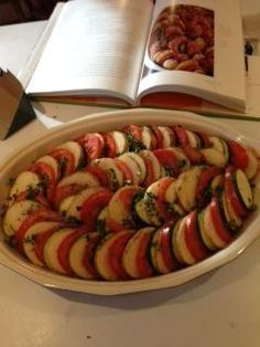 "Barefoot Contessa s Vegetable Tian ( Ina Garten ) This is by far one of my favorite ""go to"" recipes... a MUST try side dish... complements so many main dishes. Enjoy!"