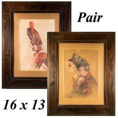 Pair (2) Antique to Vintage Pastel Portraits of Soldiers in Uniform, High Hats, French Walnut Frames w Lemonwood Stringing Old Frames, Antique Frames, High Hat, Pastel Portraits, Soldiers, French, Antiques, Hats, Prints