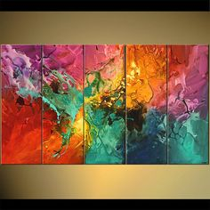 "60"" X 36"" Modern Colorful Abstract Painting Original Acrylic Painting Turquoise, Reds, Pinks, Oranges by Osnat - MADE-TO-ORDER #abstractart #art #painting #modernart #contemporaryart"