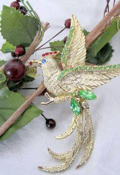 Vintage Large Designer Signed Rhinestone Bird by VintagObsessions, $40.00