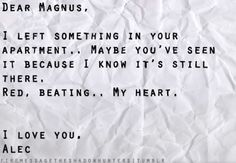 Malec...because, who wouldn't be in love with Magnus, High Warlock of Brooklyn?