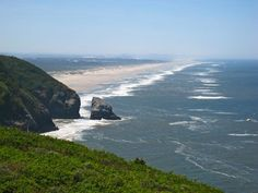 Oregon Dunes, looking south from the area near Sea Lion Caves. Stretches for 40 miles to Coos Bay, the longest san dunes in North America.