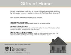 Benefits of Gifting Your Home to Fort Hays State University