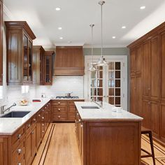 Traditional Home Blue Paint Oak Kitchen Design, Pictures, Remodel, Decor and Ideas
