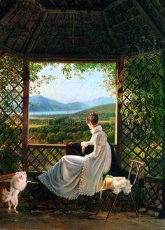 Queen Hortense of Holland at Aix-les-Bains, Antoine-Jean Duclaux, 1813 Magritte, Mondrian, Monet, Renaissance, Image Painting, Open Window, Window View, Victorian Art, Expo
